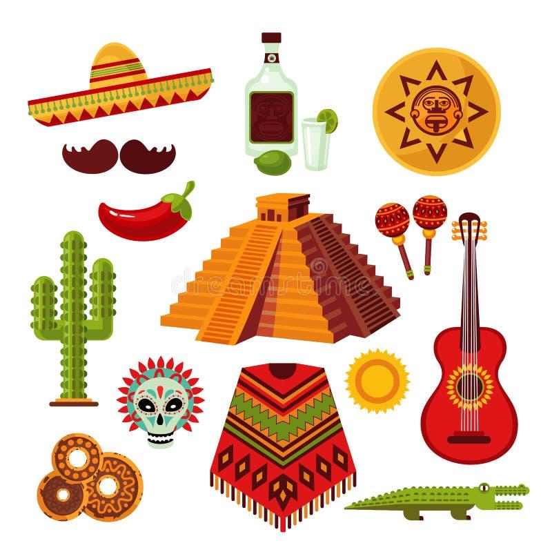 Iconos de México fijados ilustración del vector