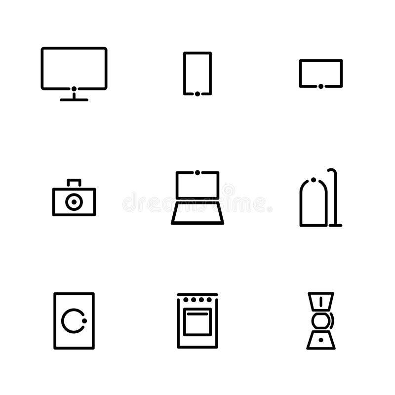Iconos de Minimalistic para los aparatos electrodomésticos y la electrónica grandes y pequeños ilustración del vector