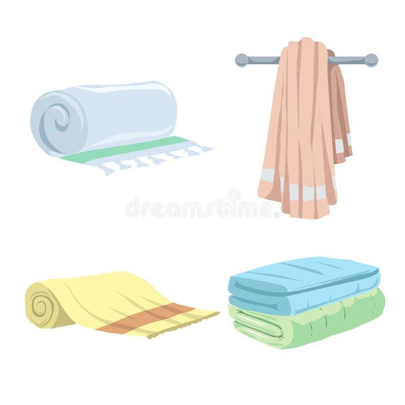 Iconos de moda de las toallas del estilo de la historieta fijados Baño, hogar, símbolos planos del hotel stock de ilustración
