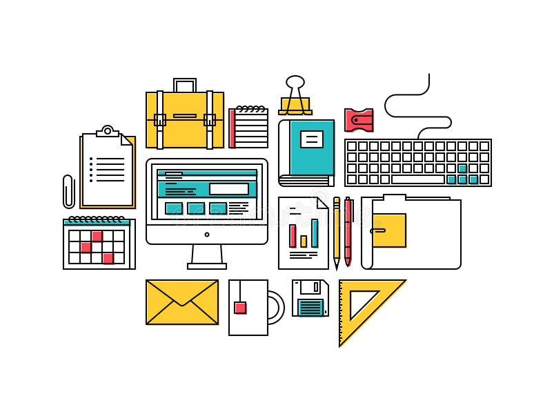 Iconos de moda de los artículos del desarrollo de negocios ilustración del vector