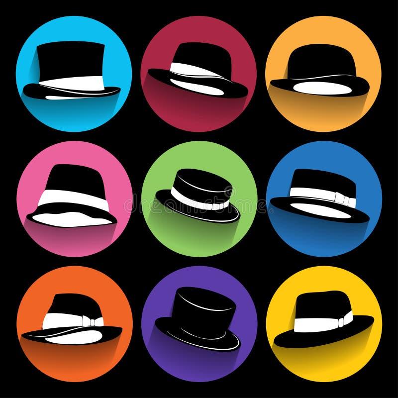 Iconos de moda del inconformista con la sombra larga stock de ilustración