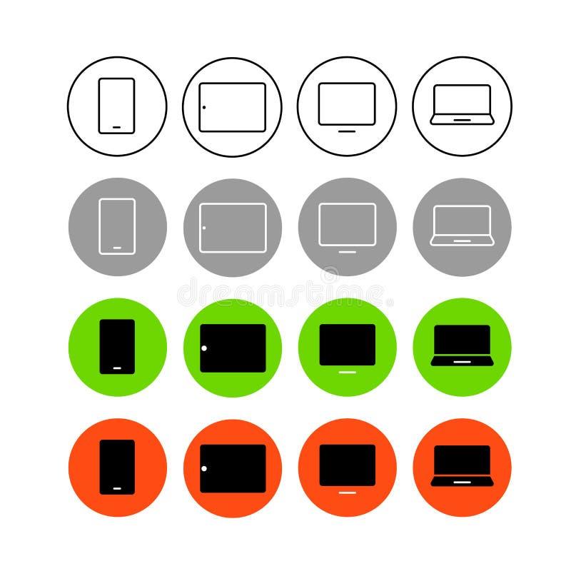 Iconos de moda del vector del interfaz de diverso estilo ilustración del vector