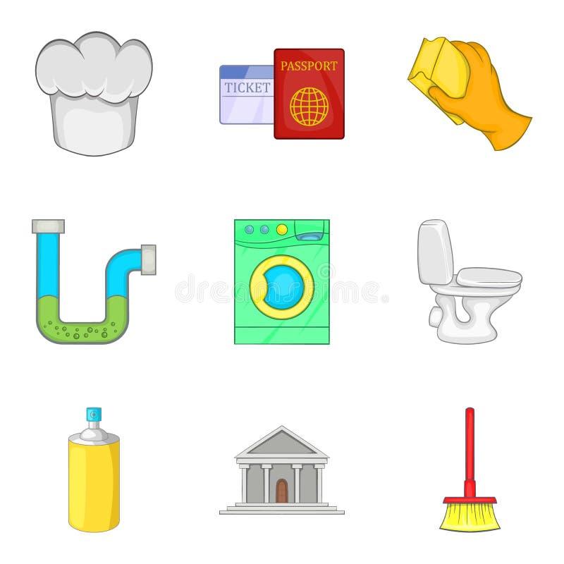 Iconos de moda fijados, estilo del motel de la historieta ilustración del vector