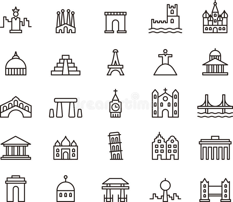 Iconos de monumentos famosos libre illustration