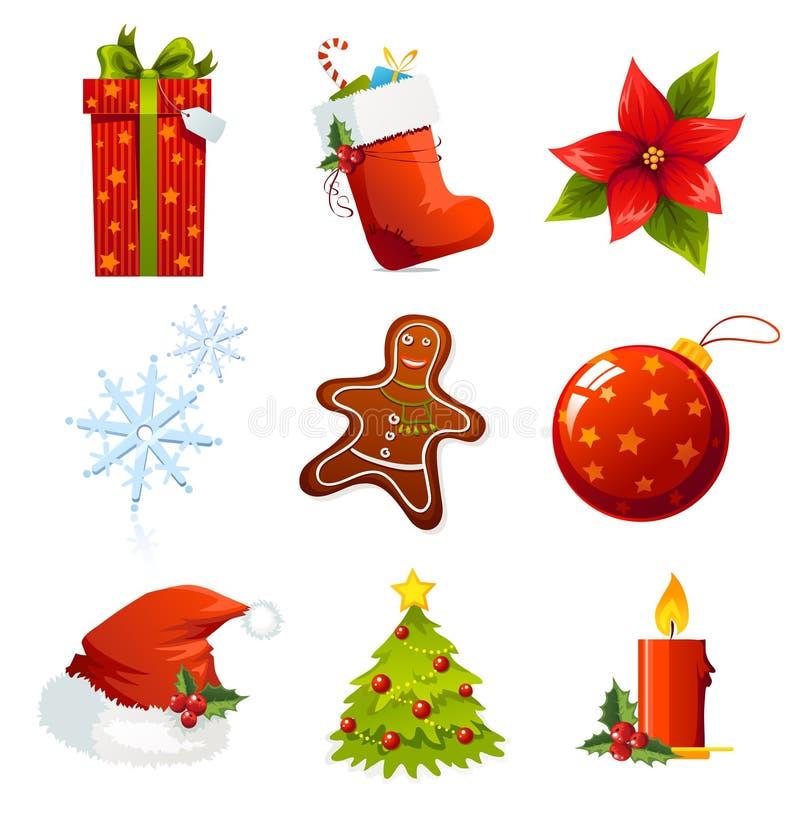 Iconos de Navidad stock de ilustración
