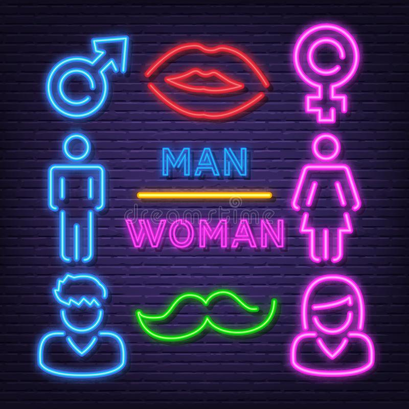 Iconos de neón del hombre y de la mujer ilustración del vector