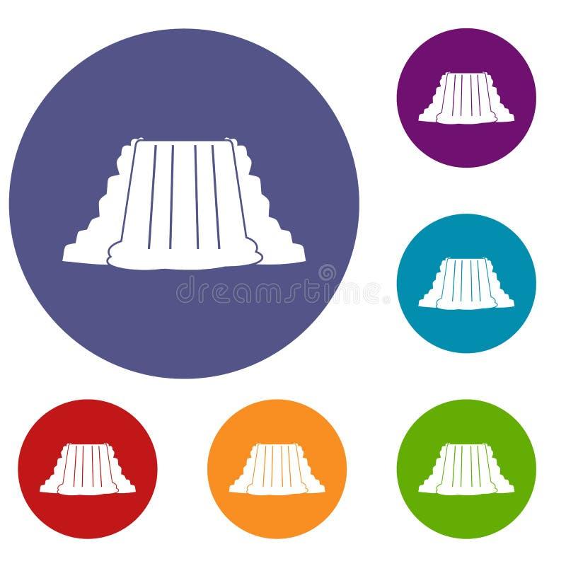 Iconos de Niagara Falls fijados stock de ilustración