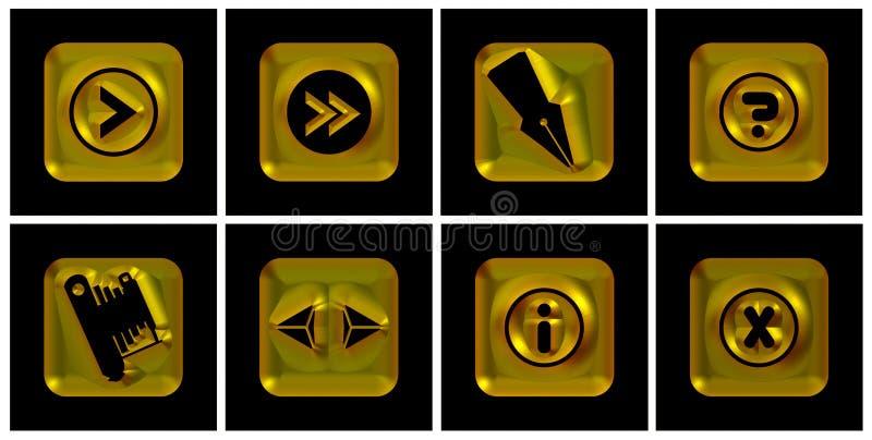 Iconos de oro stock de ilustración