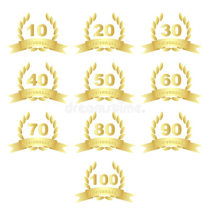 Iconos de oro del aniversario libre illustration