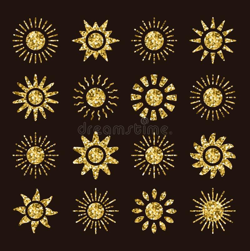 Iconos de oro del sol con diversos rayos Símbolos del verano del oro con textura de mosaico Muestras planas de la luz del sol en  ilustración del vector