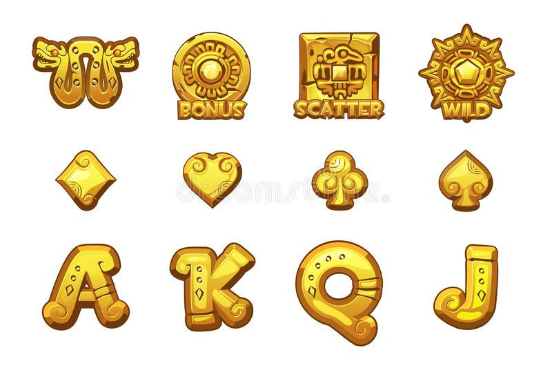 Iconos de oro de MAYA Slots de la historieta S?mbolos mexicanos antiguos del vector de la mitolog?a Casino del juego, ranura, UI stock de ilustración