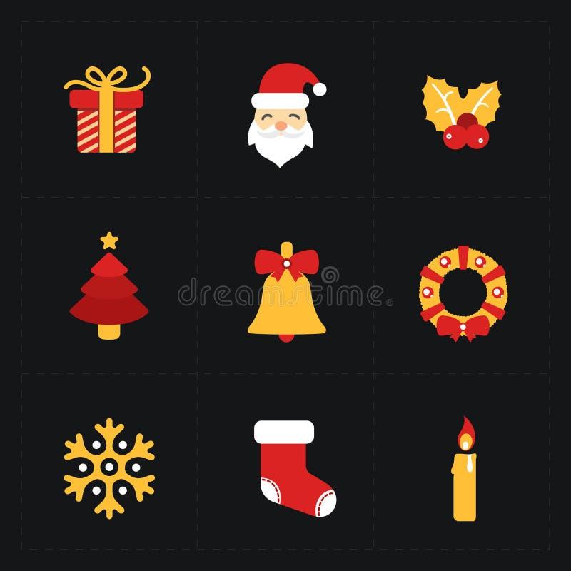 Download Iconos De Oro Planos De La Navidad Ilustración del Vector - Ilustración de claus, presentes: 64200620