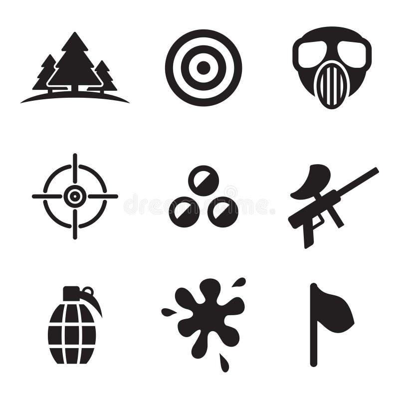 Iconos de Paintball ilustración del vector