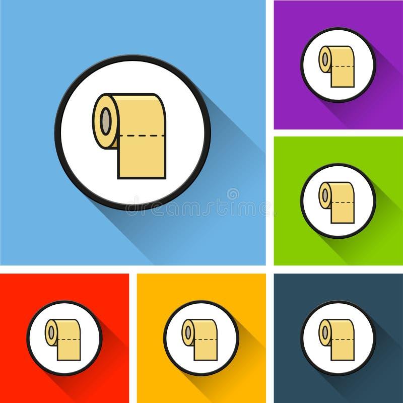 Iconos de papel del rollo con la sombra larga stock de ilustración