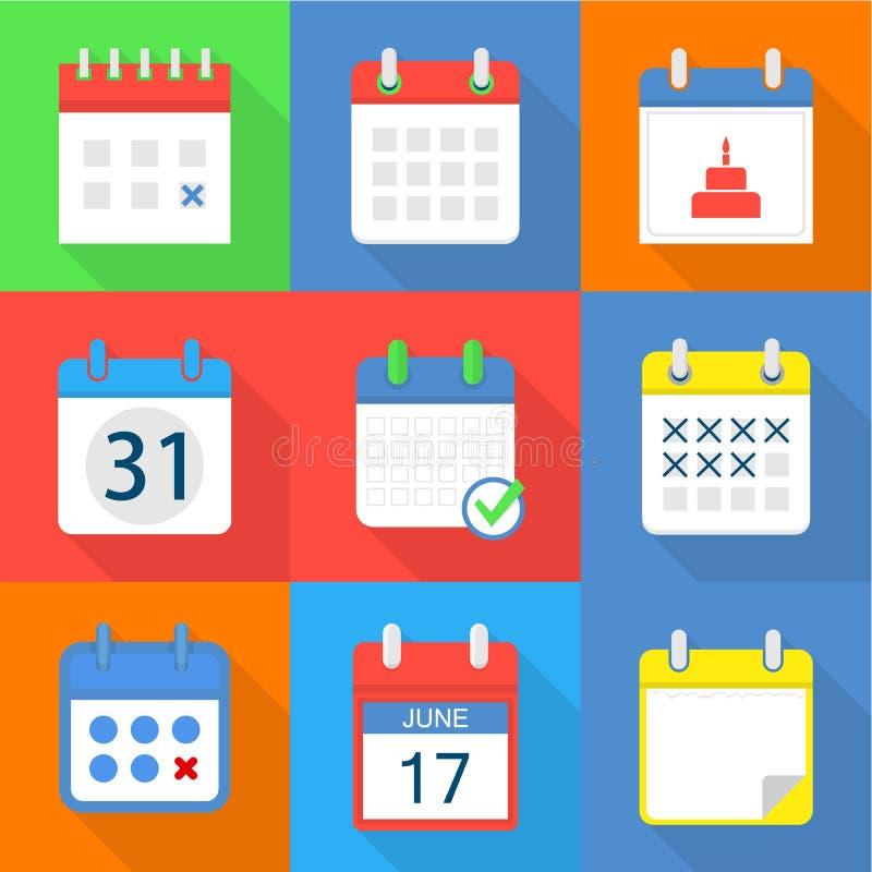 Iconos de papel fijados, estilo plano del calendario stock de ilustración