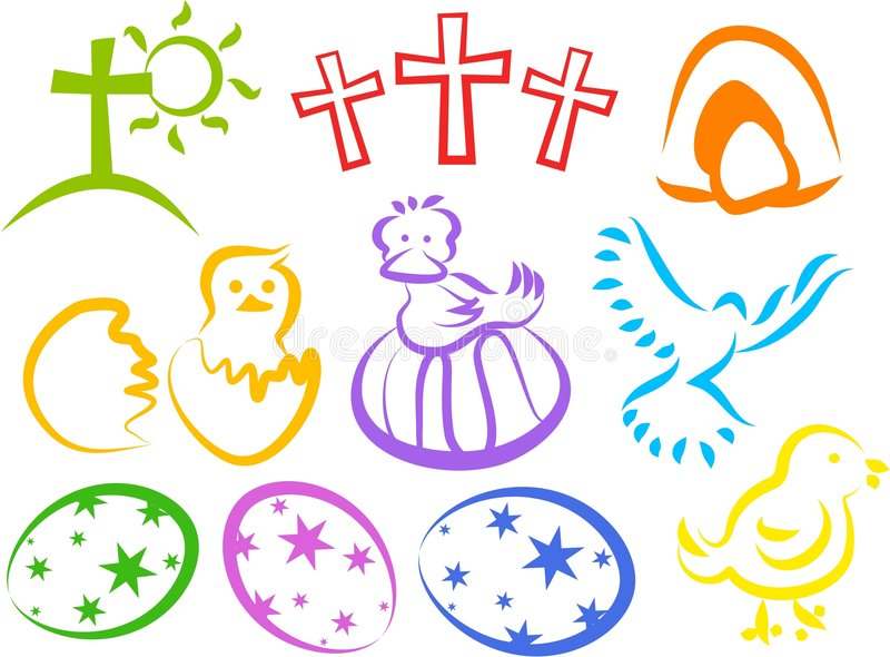 Iconos de Pascua stock de ilustración