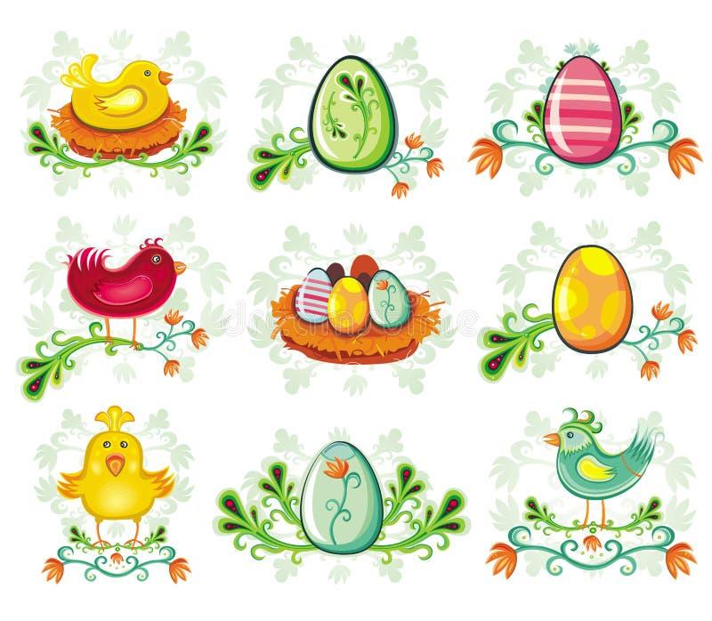 Iconos de Pascua. ilustración del vector