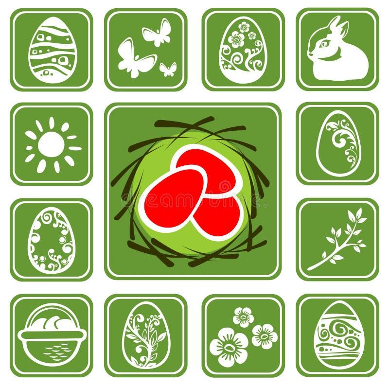 Iconos de Pascua fijados ilustración del vector