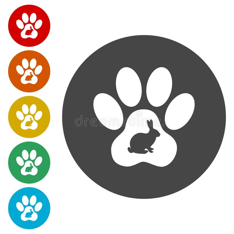 Iconos de Paw Print del conejo fijados stock de ilustración