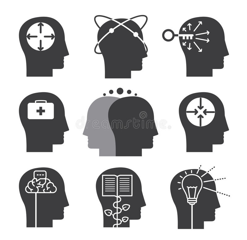 Iconos de pensamiento humanos, sistema de capacidades mentales stock de ilustración