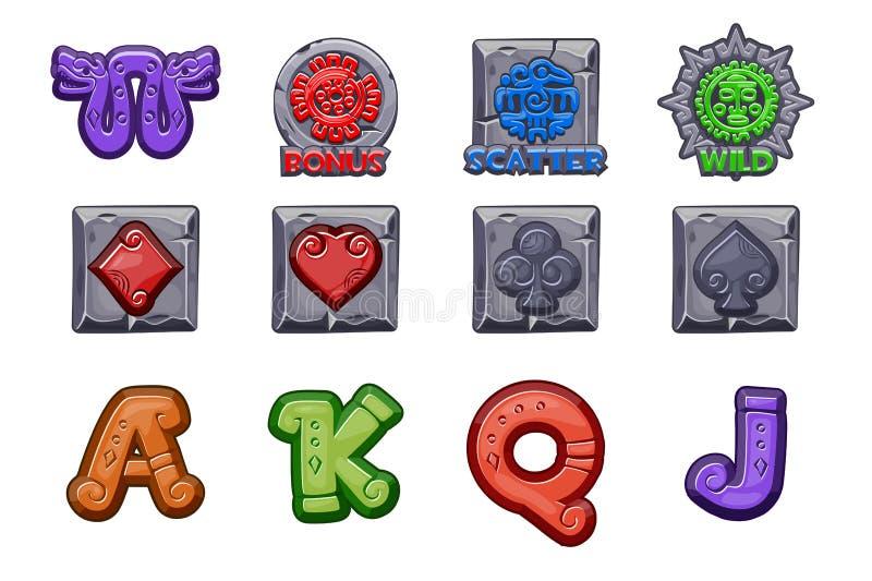 Iconos de piedra de MAYA Slots de la historieta Símbolos mexicanos antiguos del vector de la mitología Azteca americano, tótem na stock de ilustración