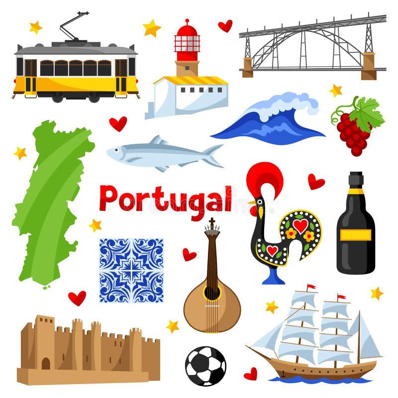 Iconos de Portugal fijados Símbolos y objetos tradicionales nacionales portugueses libre illustration