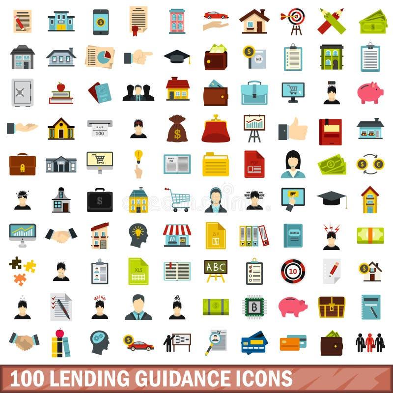 100 iconos de préstamos fijados, estilo plano de la dirección ilustración del vector