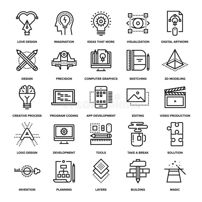 Iconos de proceso creativos libre illustration