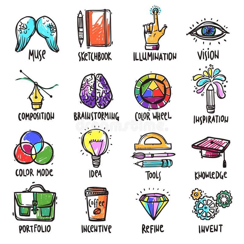 Iconos de proceso creativos fijados stock de ilustración