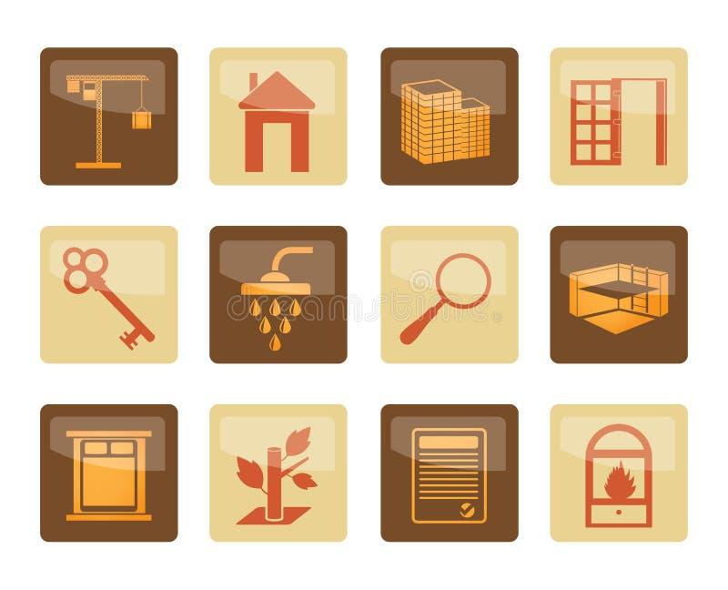 Iconos de Real Estate sobre fondo marrón libre illustration
