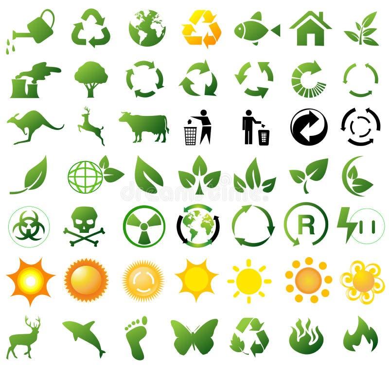 Iconos de reciclaje ambientales stock de ilustración