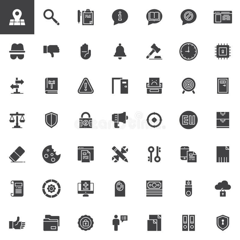Iconos de regla del vector de la protección de datos general fijados stock de ilustración