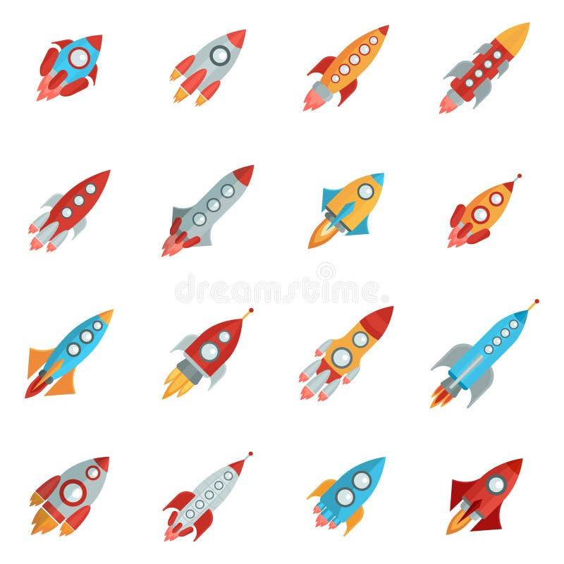 Iconos de Rocket fijados stock de ilustración