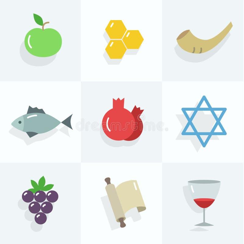 Iconos de Rosh Hashana fijados fotos de archivo libres de regalías