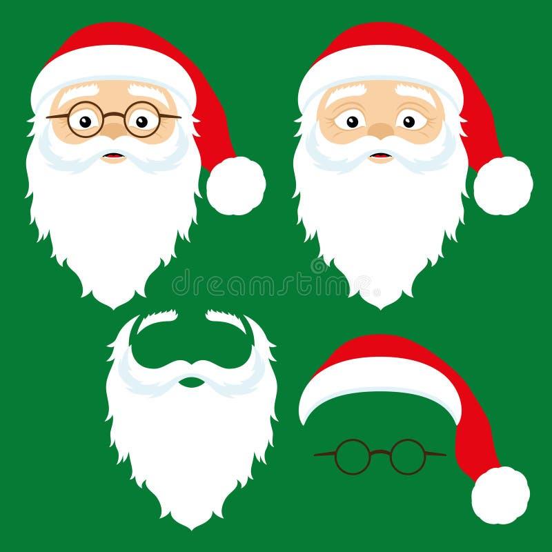 Iconos de Santa Claus ilustración del vector