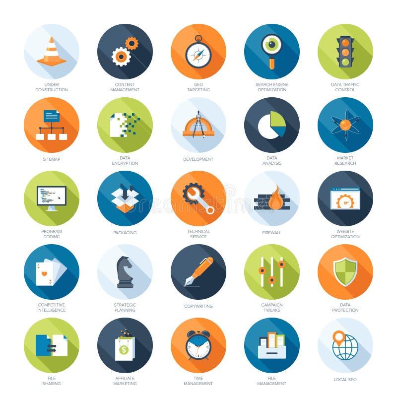 Iconos de SEO stock de ilustración