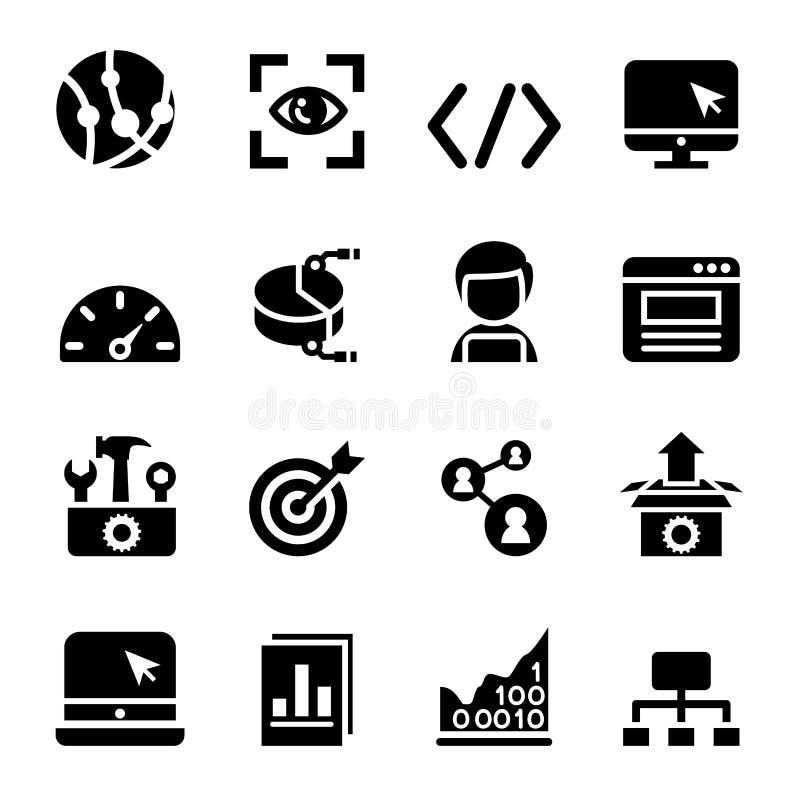 Iconos de SEO fijados ilustración del vector