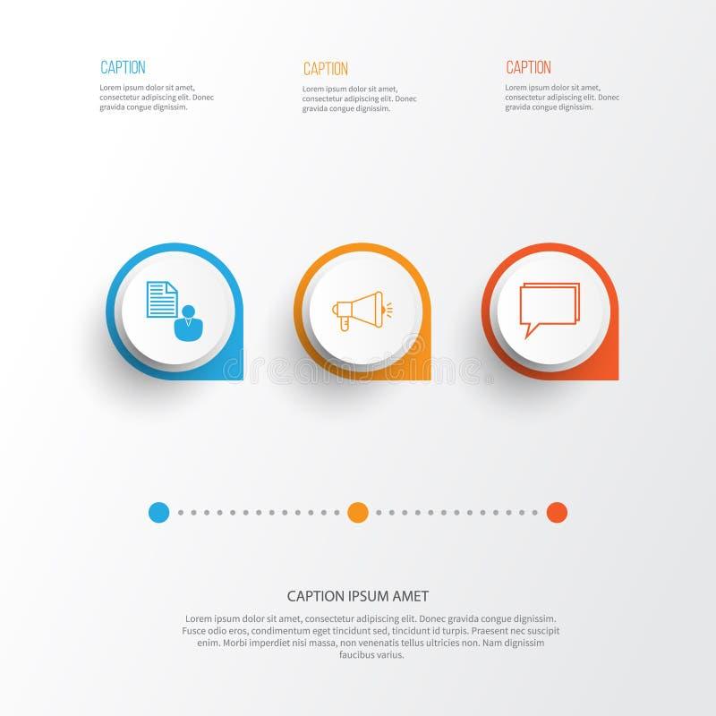 Iconos de SEO fijados Colección de medios campaña, de informe, de conferencia y de otros elementos También incluye símbolos tal c ilustración del vector