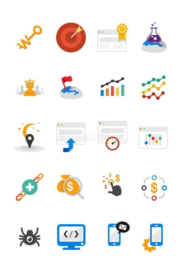 Iconos de SEO fijados en diseño plano libre illustration