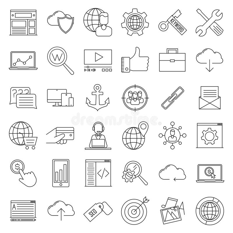 Iconos de SEO Muestras de Internet y del desarrollo ilustración del vector