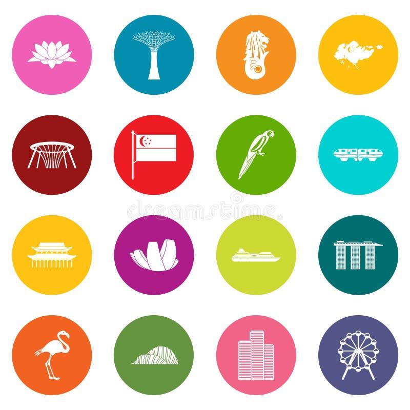 Iconos de Singapur sistema de muchos colores libre illustration