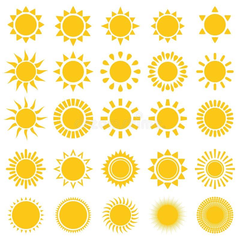 Iconos de Sun ilustración del vector