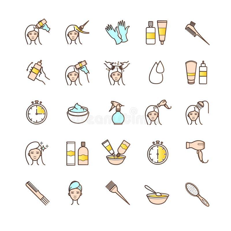 Iconos de teñido del pelo fijados ilustración del vector
