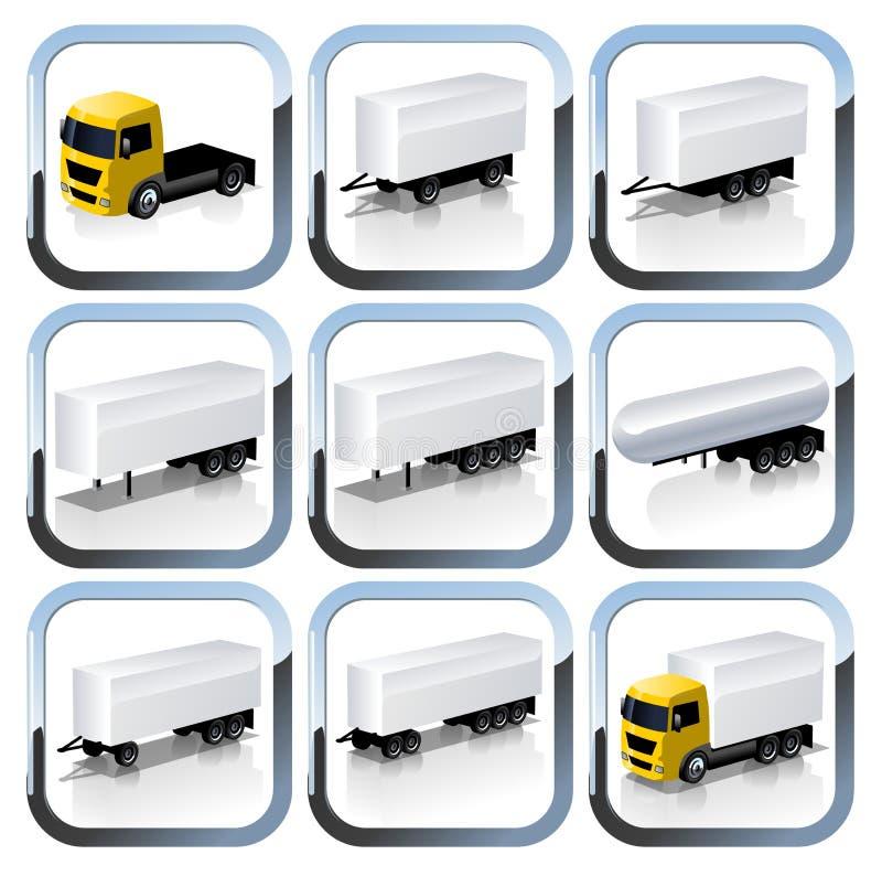 Iconos de Trailaers del camión fijados stock de ilustración
