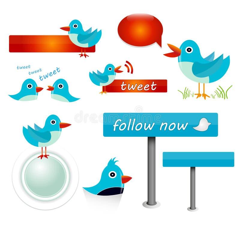 Iconos de Twitter ilustración del vector