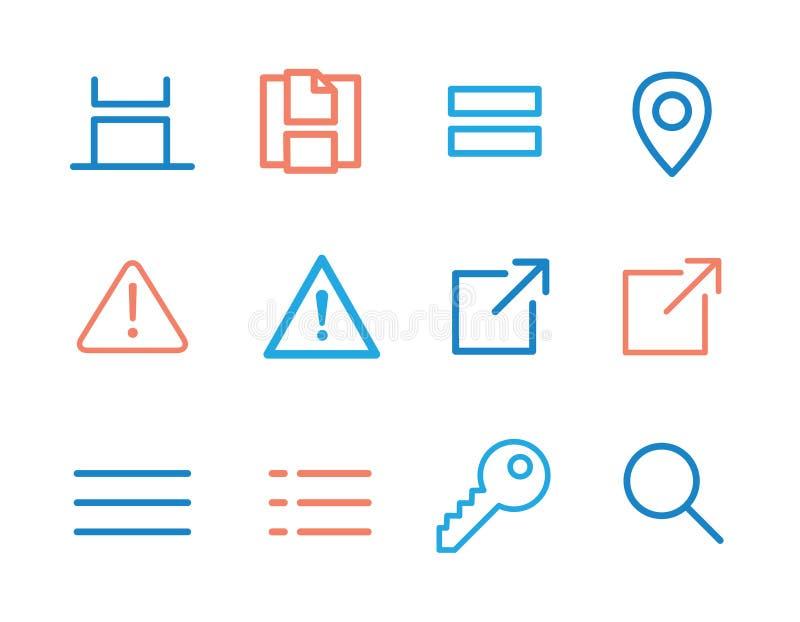 Iconos de UI y de UX para el móvil o las aplicaciones web ilustración del vector
