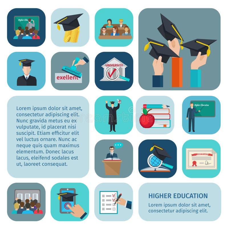 Iconos de una educación más alta planos stock de ilustración