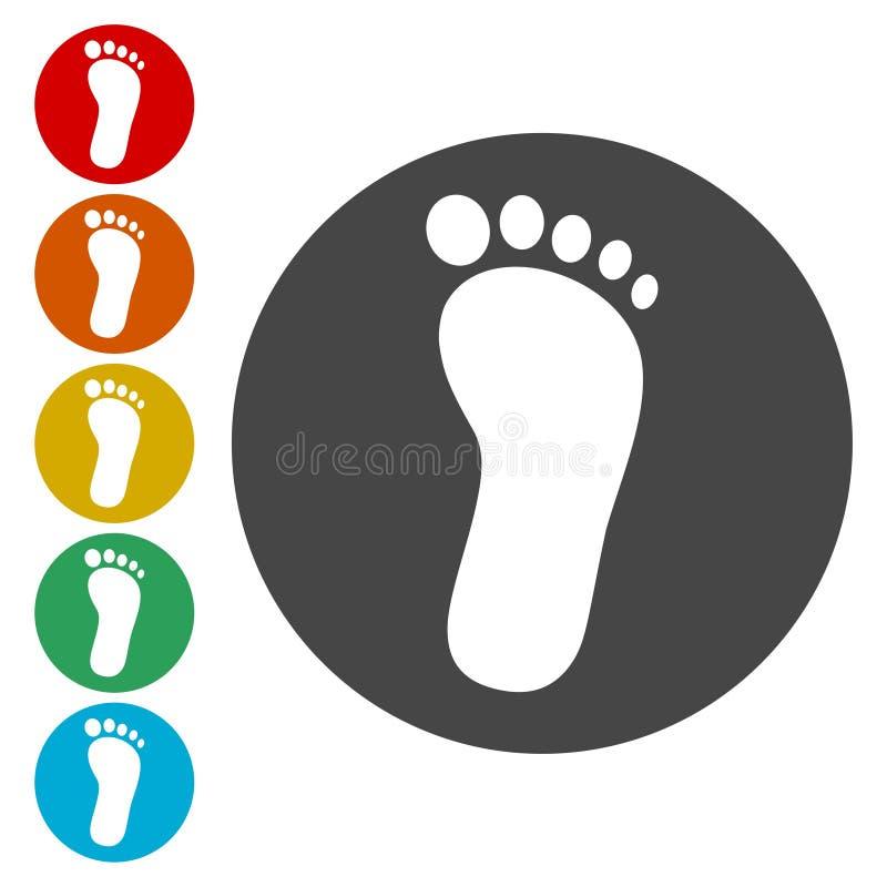 Iconos de una huella fijados stock de ilustración