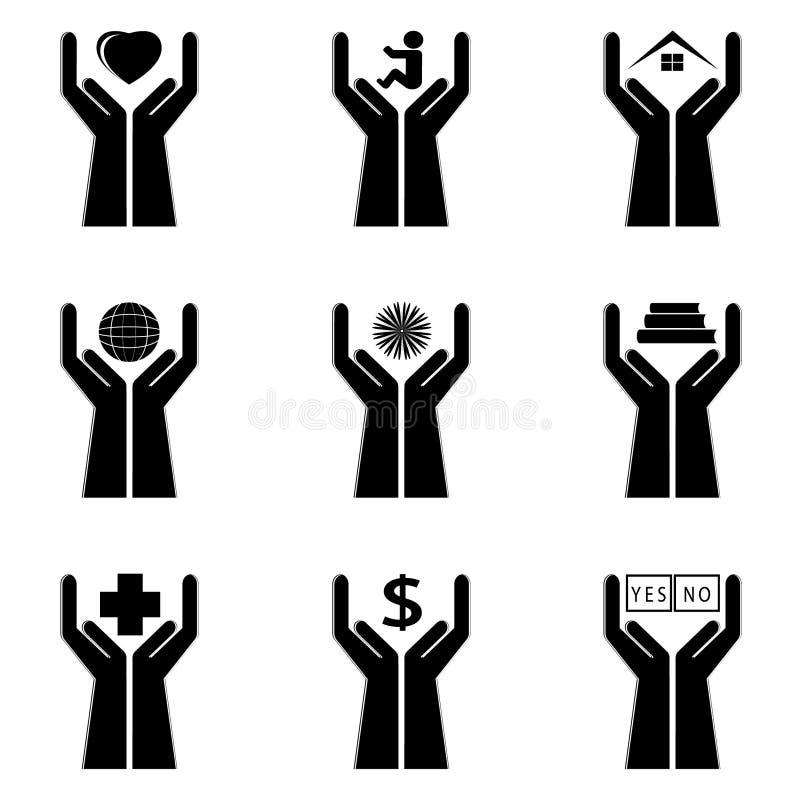 Iconos de una mano y de símbolos libre illustration