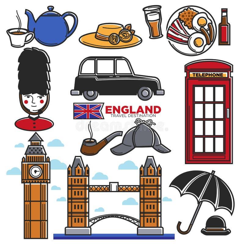 Iconos de visita turístico de excursión famosos del vector de las atracciones turísticas del destino BRITÁNICO del viaje de Ingla stock de ilustración